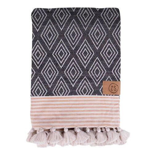 Zusss Handdoeken Hammam Handdoek Met Kwastjes Bruin