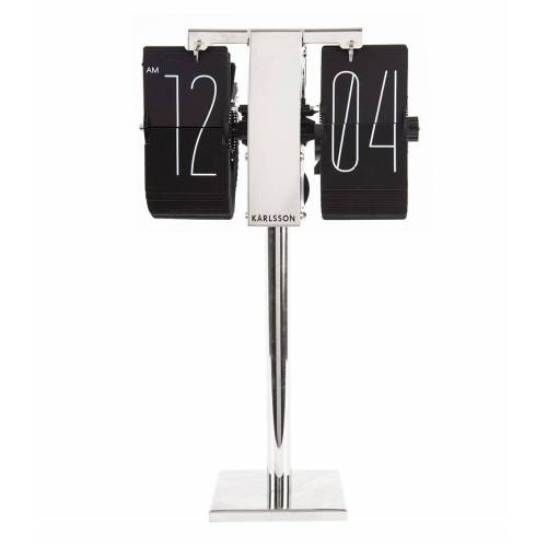 Karlsson Tafelklokken Flip clock No Case Mini chrome stand Zwart