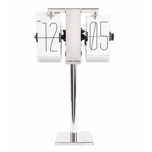 Karlsson Tafelklokken Flip clock No Case Mini chrome stand Wit
