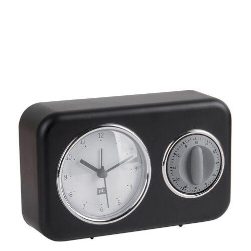 Present Time Tafelklokken Clock With Kitchen Timer Nostalgia Zwart