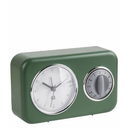 Present Time Tafelklokken Clock With Kitchen Timer Nostalgia Groen