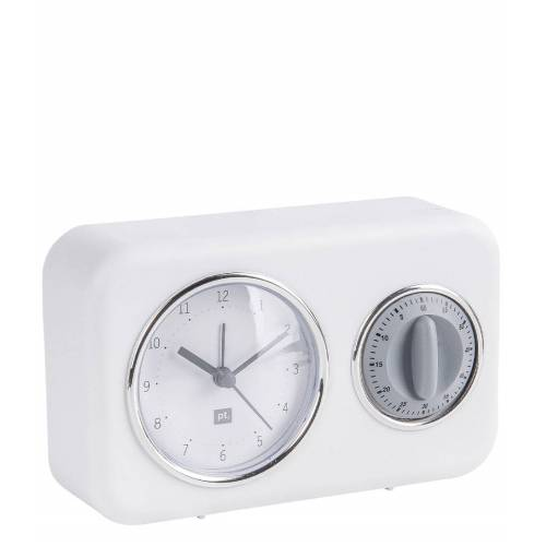 Present Time Tafelklokken Clock With Kitchen Timer Nostalgia Wit
