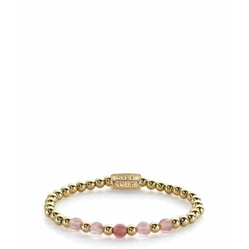 Rebel and Rose Armbanden Yellow Gold meets Cherry Rose - 6mm Roze