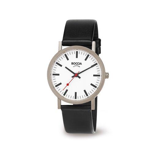 Boccia Titanium 521.03 horloge Leer Zwa Heren
