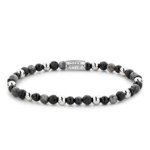 Rebel & Rose Rebel and Rose RR-40041-S-S Rekarmband Beads Shiny Night zilverkleurig-zwart-grijs 4 mm S 16,5 cm