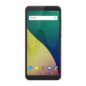 Wiko View Smartphone, 14,47cm (5,7inch), camera 16 megapixels, intern geheugen 64GB, 4GB RAM, Dual SIM, Fingerprint, Android 7.1Nougat, kleur zwart, 32, kersenrood