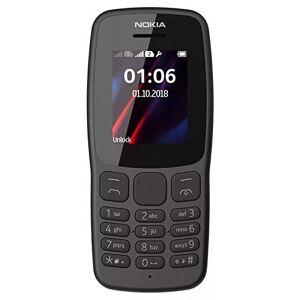 Nokia 106 mobiele telefoon (lange batterijduur, radio, zaklamp, wekker, dual SIM) donkergrijs, versie 2018