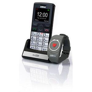 MaxCom mm 715großtasten mobiele telefoon met notrufarmband (4,5cm (1,8inch) kleurendisplay, groot telefoonboek (300), FM Radio, 1,3Megapixel camera, WAP, Bluetooth) Zilver/Zwart
