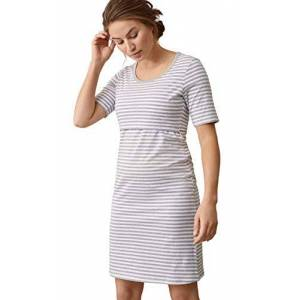 Boob dames nachthemd Still en omstandigheden nachtshirt Still nachthemd voor zwangere vrouwen en borstvoeding, van biologisch katoen (Night Dress) - wit/grijs Not Applicable, maat: l