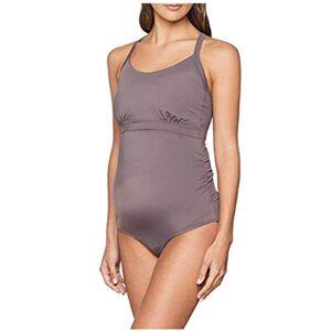 Boob Badpak voor dames met borstvoeding, zwangerschapsbadmode met eenvoudige borstvoeding en beschermingsfactor (Fast Food Swimsuit) - antraciet Not Applicable, maat: s