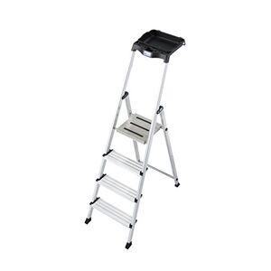 KRAUSE for Demand lbsc528laddertje met dienblad L met 4voetstap, 2.85m hoogte laddertje, 0.85hoogte laatste springplank, 1.6m lengte