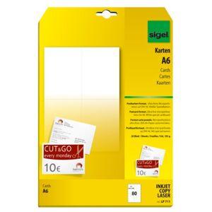 Sigel lp711blanco Kaarten/ansichtkaarten Wit, A6, tweezijdig bedrukbaak, 185g, 80stuks