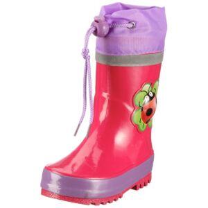 Playshoes rubberen laarzen voor kinderen, van natuurlijk rubber, trendy unisex regenlaarzen met reflectoren, met kever-motief - roze - 22/23 EU
