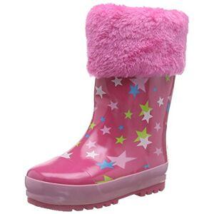Playshoes rubberen laarzen voor kinderen, van natuurlijk rubber, voor meisjes, warme regenlaarzen met binnenvoering, met sterretjespatroon - roze - 30/31 EU