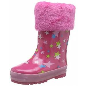 Playshoes rubberen laarzen voor kinderen, van natuurlijk rubber, voor meisjes, warme regenlaarzen met binnenvoering, met sterretjespatroon - roze - 20/21 EU