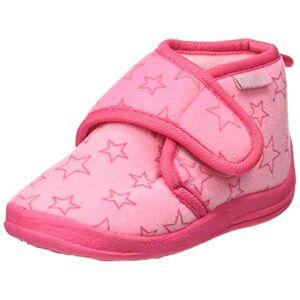 Playshoes kinderpantoffels met praktische klittenbandsluiting, schattige huisschoenen voor meisjes en jongens, met sterrenpatroon - roze - 22/23 EU