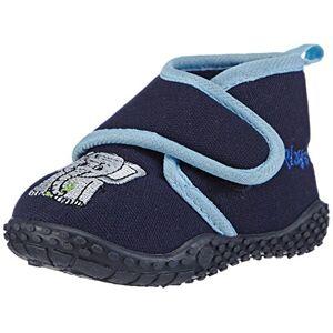 Playshoes kinderpantoffels met praktische klittenbandsluiting, schattige huttenschoenen voor meisjes en jongens, met olifantmotief - blauw - 22/23 EU