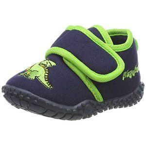 Playshoes kinderpantoffels met praktische klittenbandsluiting, schattige huttenschoenen voor meisjes en jongens, met drakenmotief (Hausschuh Drache) - Blauw origineel 900, maat: 25 EU