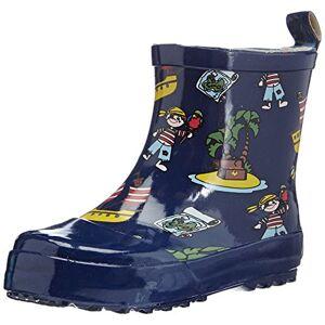 Playshoes, halfhoge rubberen laarzen voor kinderen, van natuurlijk rubber, trendy uniseks regenlaarzen met reflectoren, met piratenpatroon - blauw - 22 EU