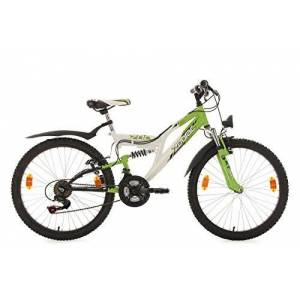 "KS Cycling Fully Mountainbike Fully 24"" Zodiac wit-groen RH 38 cm"
