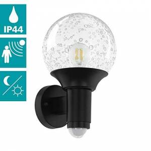 EGLO buiten-wandlamp Sossano, 1 vlammige buitenlamp incl. bewegingsmelder, sensor-wandlamp van kunststof en glas met luchtbellen, kleur: zwart, transparant, fitting: E27, IP44