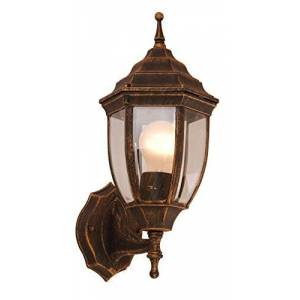GLOBO Buiten tuin wand lamp Aluminium fitting 1x E27Zwart goud glas Globo nyx I 31710