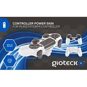 Gioteck Controller Power Skin/harde schaal met geïntegreerde batterij voor PS4 wit