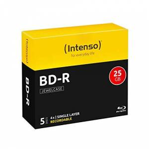 Intenso BD-R 25GB, 4x Speed, 5-serie Pack jewelcase blu-ray blanks