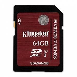 Kingston Ultra High-Speed Class 3 SD-geheugenkaart, 90 MB/s 64 GB