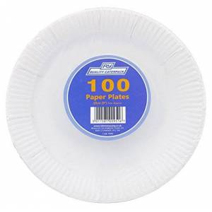 caterpack papier borden, Hout, wit, 9inch/23cm, 100stuks