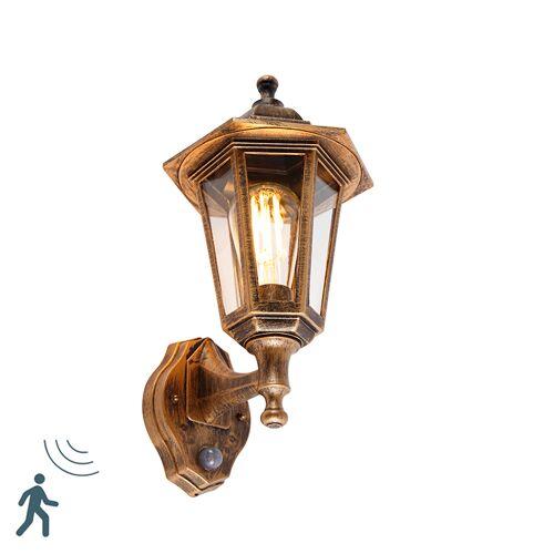 QAZQA Klassieke buitenwandlamp antiek goud met bewegingssensor - New Haven