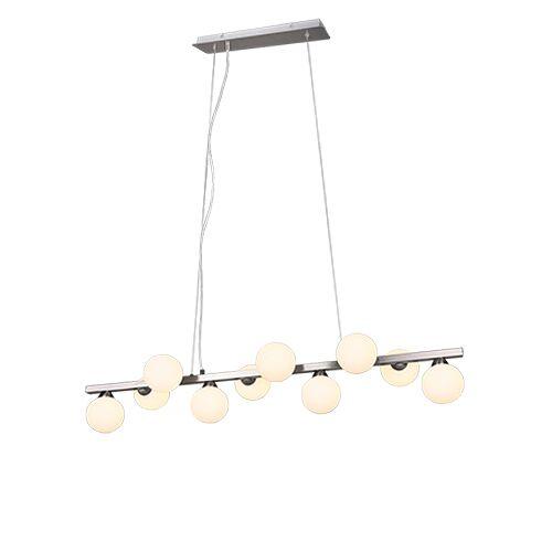 Trio Leuchten Art Deco hanglamp staal met opaal glas 10-lichts - Fon