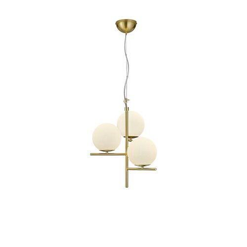 Trio Leuchten Art deco hanglamp goud met opaal glas 3-lichts - Flore