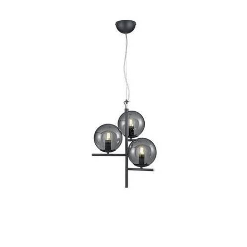 Trio Leuchten Art deco hanglamp zwart met smoke glas 3-lichts - Flore
