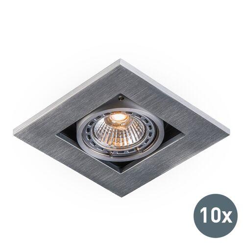 QAZQA Set van 10 inbouwspots aluminium - Qure
