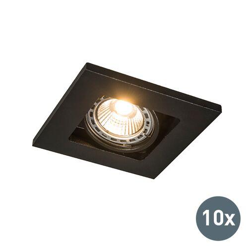 QAZQA Set van 10 inbouwspots zwart verstelbaar - Qure
