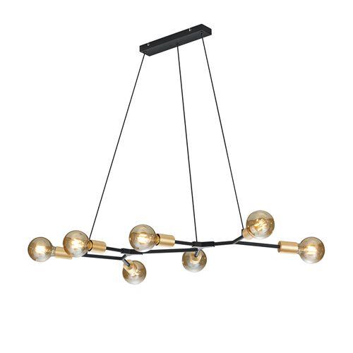 Trio Leuchten Moderne hanglamp zwart met goud 7-lichts - Dirk
