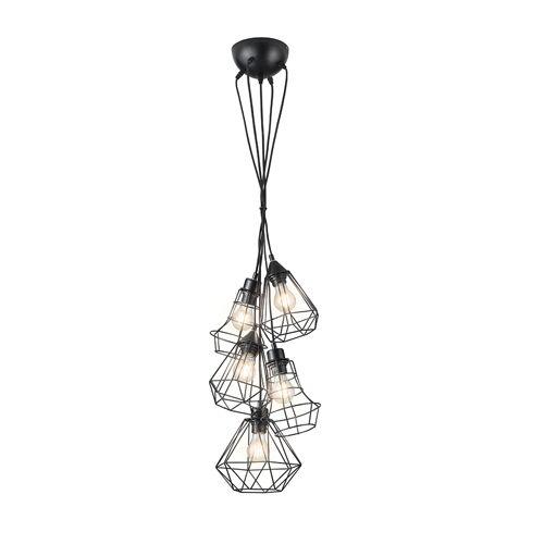 Trio Leuchten Moderne hanglamp zwart 5-lichts - Mieke