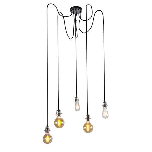 QAZQA Moderne hanglamp chroom - Cava 5