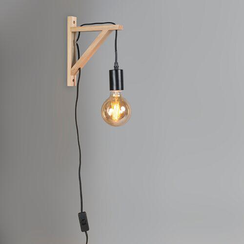 QAZQA Wandlamp hout met zwart - Galgje