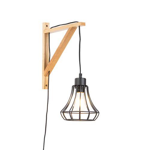 QAZQA Landelijke wandlamp hout met zwart frame - Galgje