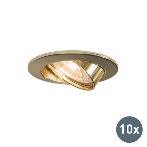 QAZQA Set van 10 inbouwspots kantelbaar goud - Edu