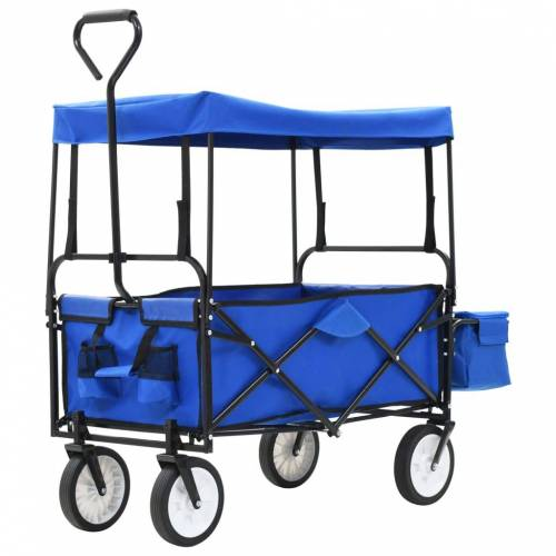 vidaXL Handkar inklapbaar met luifel staal blauw