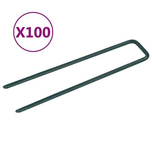 vidaXL Kunstgraspennen 100 st U-vormig ijzer