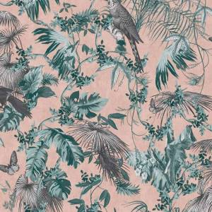 DUTCH WALLCOVERINGS Behang bladeren en vogels groen en roze