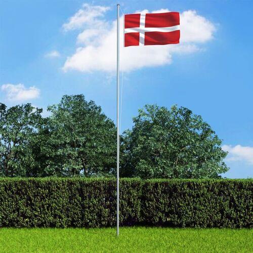vidaXL Vlag met vlaggenmast Denemarken 6,2 m aluminium