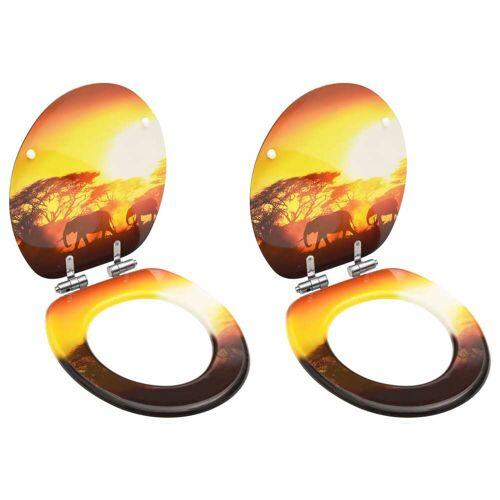 vidaXL Toiletbrillen met soft-close deksel 2 st savanne MDF