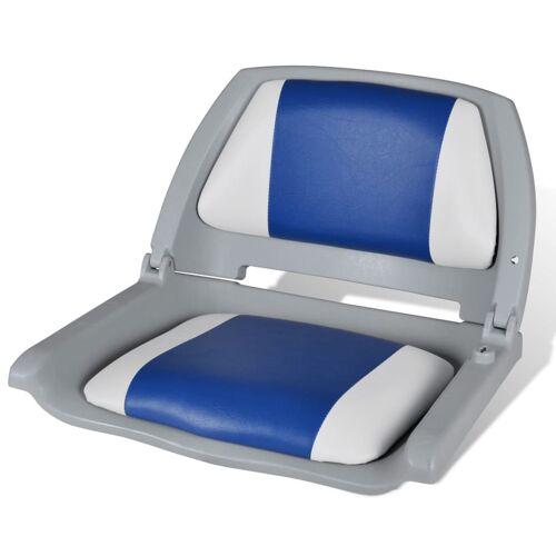 vidaXL Opklapbare bootstoel met blauw-wit kussen 41 x 51 x 48 cm