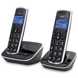 Fysic Seniorentelefoon draadloos FX-6020 dubbel zwart en zilverkleurig