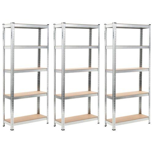 vidaXL Opbergrekken 3 st 75x30x172 cm staal en MDF zilverkleurig